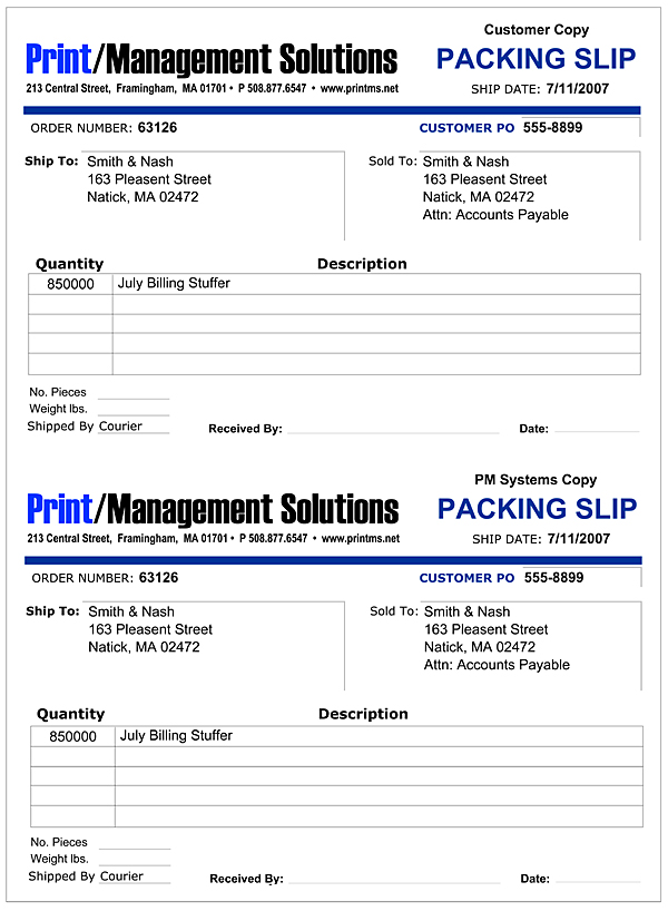 Print Management Solutions Customer Packing Slip – Packing Slips for Shipping